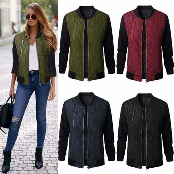 Womens Winter Quilted Retro Padded Bomber Jacket Vintage Zip Biker Coat Outwear