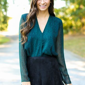 Wildly Attracted Green Print Top
