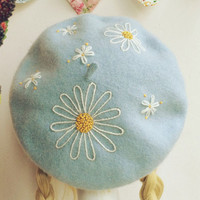 Embroidered Sky Blue Beret