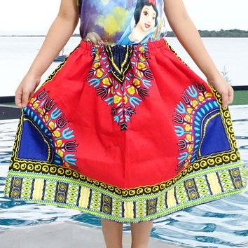 KIDS' AFRICAN PRINT DASHIKI  MINI SKIRTS , ONE SIZE , MANY COLORS