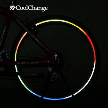 CoolChange Bicycle Reflective Stickers Bike Wheel Rim Accessories Fluorescent Decal Reflection Paster for Outdoor Cycling Sports