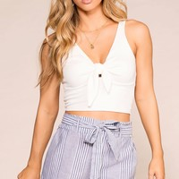 One Sunny Day Blue Striped Paperbag Shorts