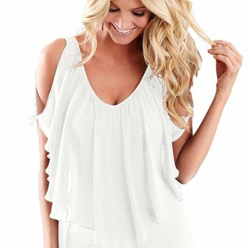 2017 New Arrival Summer Women's Sexy Short Sleeve O-Neck White Blue Cold Shoulder Flutter Top LGY250063