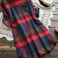 Women's Plaid Round Neck Long Sleeve Dress