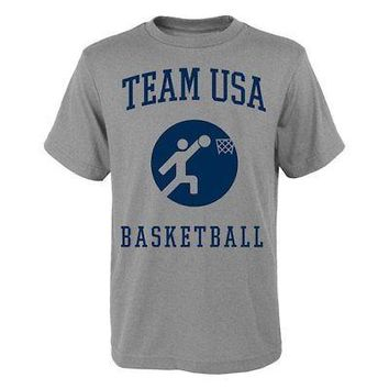 Licensed Sports Team USA Basketball Pictogram T-Shirt - Heather Gray KO_20_2