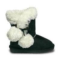 Girls' Side Tie Microfiber Boots - Black (Special Offer)