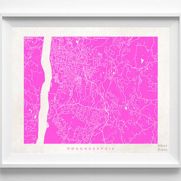 New York, Poughkeepsie, Print, Map, NY, Poster, State, City, Street Map, Art, Decor, Town, Illustration, Room, Wall Art, Customize