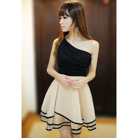 Sloping Shoulder Sleeveless Chiffon Mini Dress