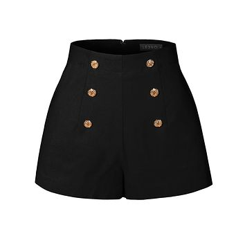 High Waisted Front Button Retro Vintage Pin Up Sailor Shorts with Pockets