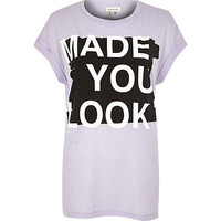 River Island Womens Lilac made you look t-shirt