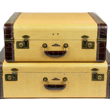 Vintage Gittis Luggage / Set of Two Suitcases / Yellow Tweed with Leather Accents / Wine Color Interior