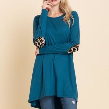 Reborn J Animal Print Elbow Patch Tunic - Teal