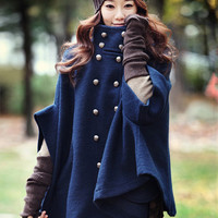 Blue Cape Sleeve Woolen Trench Coat
