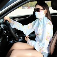 Fashion Arm Warmer Anti-UV Lace Mouth Muffle Face Mask With Long Sleeve 2 in 1 Healthy Dust Masks women Girl Sunscreen P1