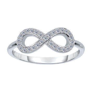 14K White Gold Diamond Infinity Ring - 0.18Ct