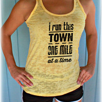 Womens Burnout Running Tank Top. I Run This Town. Motivational Tank. Inspirational Workout Tank. Fitness Motivation. Workout Clothing.