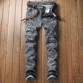 Slim Skinny Pants Simple Design Strong Character Ruffle Stretch Ripped Holes Jeans [3444981727325]