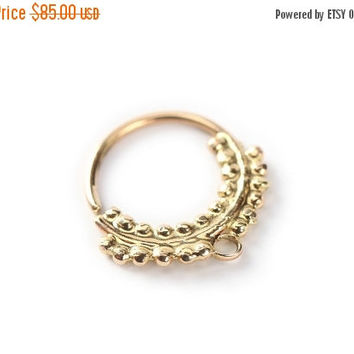 November sale septum jewelry - primitive style - Gold nose ring 14 karat yellow gold - nose jewelry - septum ring - tragus - nose piercing
