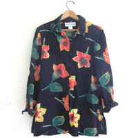 80s floral shirt. button up blouse. oversized revival top. / size small