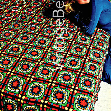 Medieval Stained Glass Afghan CROCHET 1970s Vintage Crochet Pattern great blanket for bed or to snug up plus is modeled by Christie Brinkley