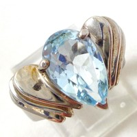 Estate Sterling Silver Blue Topaz Gemstone Modernist Layered Ring Sz 6.5