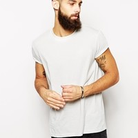 ASOS T-Shirt With Relaxed Skater Fit And Rolled Sleeve
