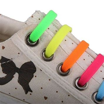CREYYN6 12PCs/ Pack New Unisex Adult Athletic Running No Tie Shoelaces Elastic Silicone Shoe Lace All Sneakers Fit Strap 8 Colors