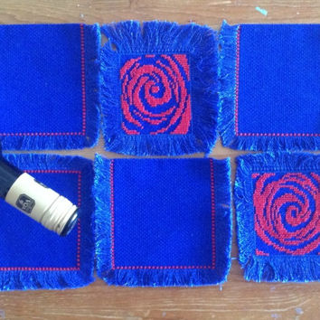 Beverage coaster set of 6 Complementary set coasters Blue liberty fringed hand embroidered fabric beverage coasters set
