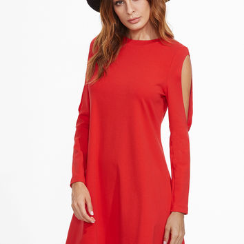 Red Crew Neck Long Sleeve Dress