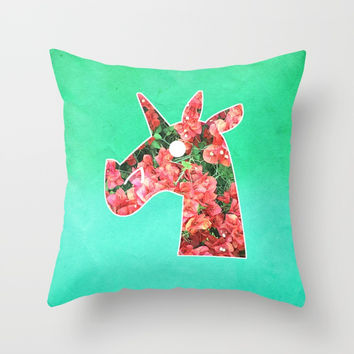 Bougainvillea Unicorn Throw Pillow by That's So Unicorny