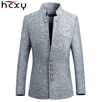 HCXY Blazer Men spring New Chinese style Business Casual Stand Collar Male Blazer Slim Fit Mens Blazer Jacket Size M-5XL