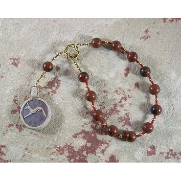 Anubis Pocket Prayer Beads in Mahogany Obsidian: Egyptian God of the Afterlife, Guardian of the Dead