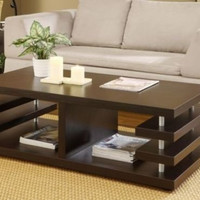 Modern Coffee Table with Storage & Side Shelving Contemporary Espresso New
