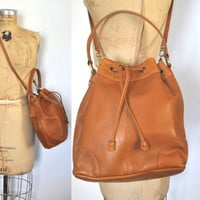 Brown Leather Bucket Bag / drawstring purse
