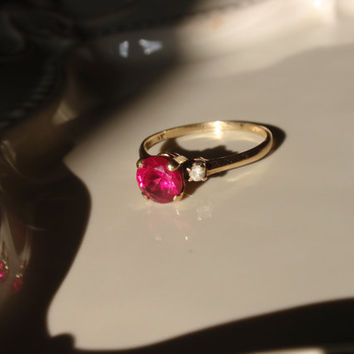 Vintage Ruby Engagement Ring 10k Ladies July Birthstone size 10 round stone white topaz red pink white   1970s