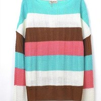 L 080501 Personalized striped sweater loose from cassie2013