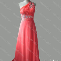 Coral Long Prom Dresses Beaded Bridesmaid Dresses Lace up Back Women Formal Gowns Crystals Evening Dresses Cheap Wedding Party Dress 2015