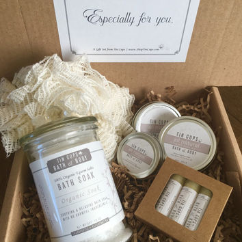 Valentine's Gift For New Moms - Deluxe Bath Spa Set includes Salts, Hand Salve, Whipped Body Butter or Lotion Bar, Lip Balms & Pouf