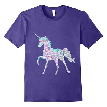 Unicorn Faux Pink Blue Sparkle Unicorn Print T Shirt