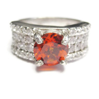 Sterling Fanta Orange Spessartite Garnet Zircon Ring Size 7
