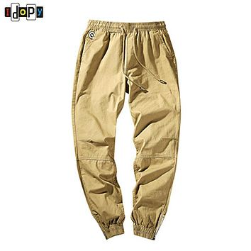 Simple Trend New Mens Pants Cotton Casual Trousers Vintage Elastic Waist Joggers Pants With Zippers In Feet For Men