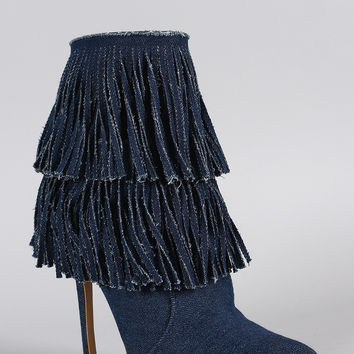 Shoe Republic LA Denim Layered Fringe Pointy Toe Stiletto Booties