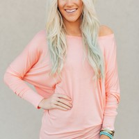 Solid Dolman Top - Peach