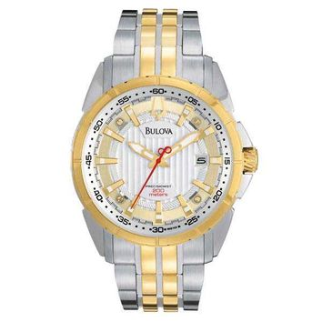 Bulova 98B169 Men's Precisionist Campton Two Tone Stainless Steel Silver Dial Watch
