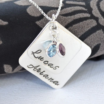 Hand-Stamped Mother's Necklace- Personalized Mommy Necklace- Children's Names with Birthstones