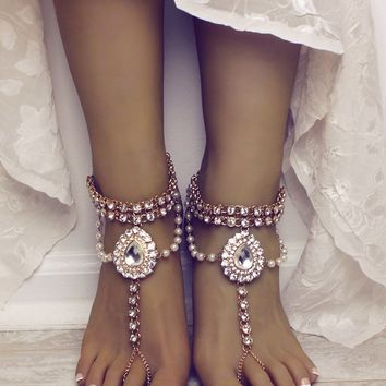 Eleanor Barefoot Sandals in Gold