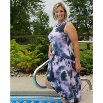 Navy and Lavender Tie Dye Pocket Dress
