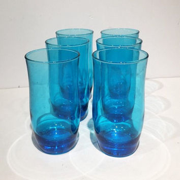 Blue Glass Tumblers, Libbey Apollo Blue Glasses, Mid Century Retro Ice Tea or Water Glasses, Aqua Blue Rock Sharpe  Libbey Set of 6