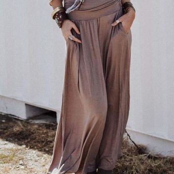 Sundown Pocket Maxi Skirt - Mocha