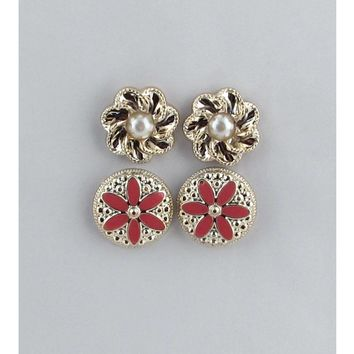 Set of two pair round floral stud earrings